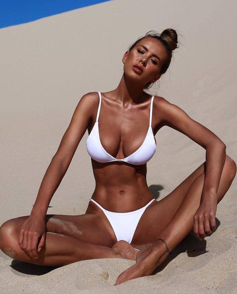 e5be77c8811 White Solid Minimal Triangle Bikini in 2019 | Brazilian Cut | Mini ...