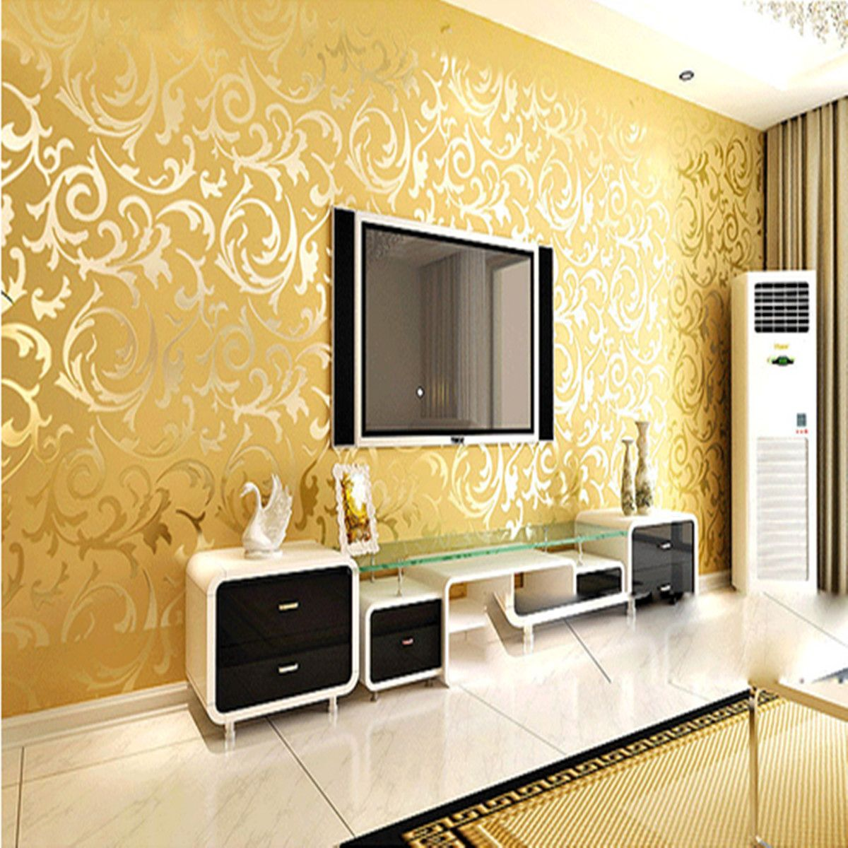 10mx53cm Wallpaper Rolls Silver Golden Apricot Luxury Embo
