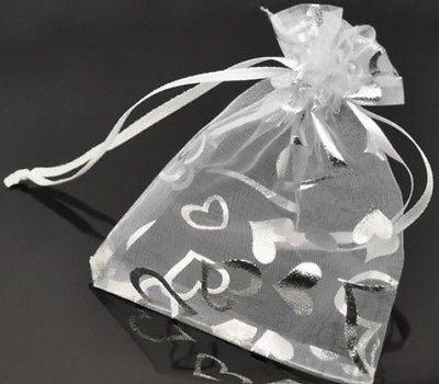 100 X White Hearts Organza Bags Uk Wedding Favour Bridesmaids Gift