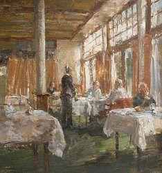 Zomeravond | schilderij van een restaurant interieur in olieverf van ...