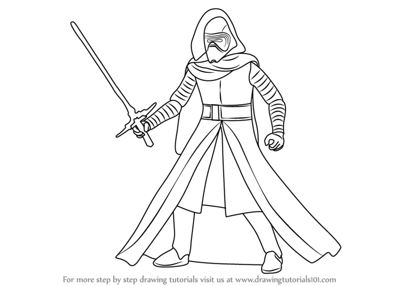 How To Draw Kylo Ren From Star Wars Drawingtutorials101 Com Drawings Star Wars Characters Coloring Pages
