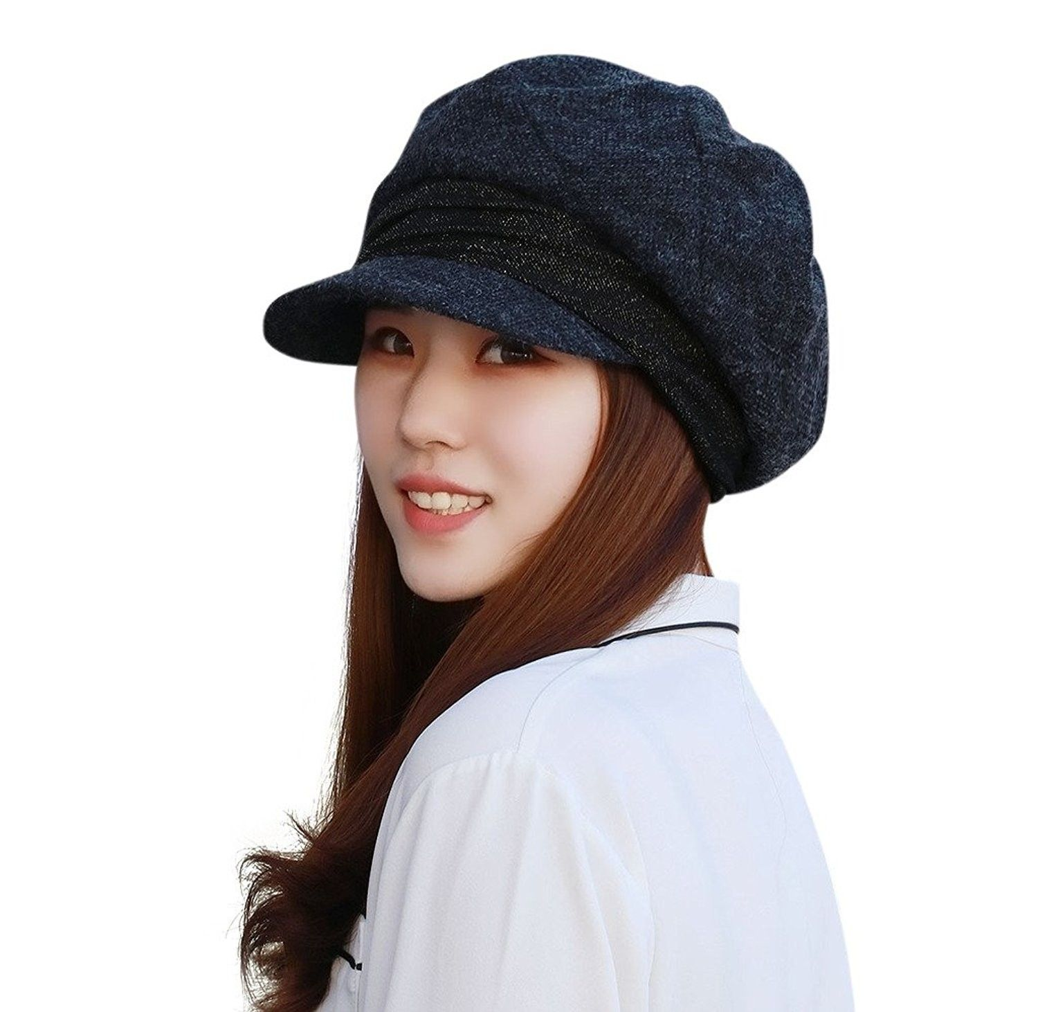 4edf8d2be Womens Hat with Visor Newsboy Hat Ivy Cap Banded Beret - Gray ...
