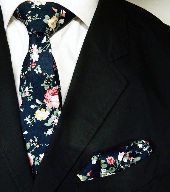 3a714c62d66a Dark navy floral tie floral pocket square wedding tie gift for men skinny  navy floral print tie groomsmen wedding tie