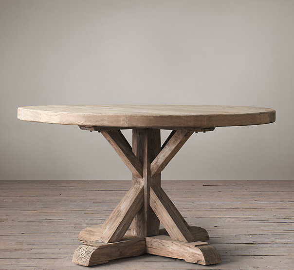 Distressed elm belgian trestle round dining table for Distressed round dining table