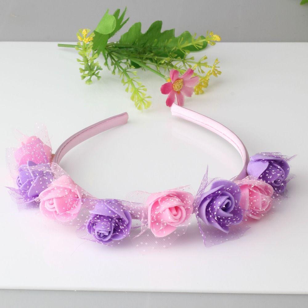 dd935e5cf02c2 New 6 colors Flower Hair Band Headband Baby Hair Accessories Children  Accessories Girls Wedding Hair Accessories