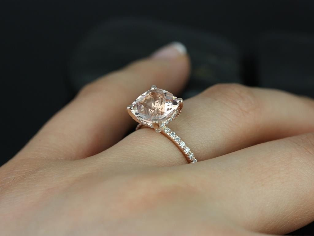 Rose Gold Morganite Ring 11x9 mm Cushion Cut Diamond Halo