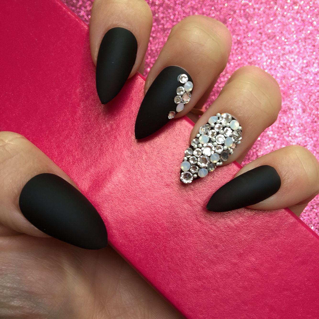 Matte black nails with Swarovski and opals | Nail It | Pinterest