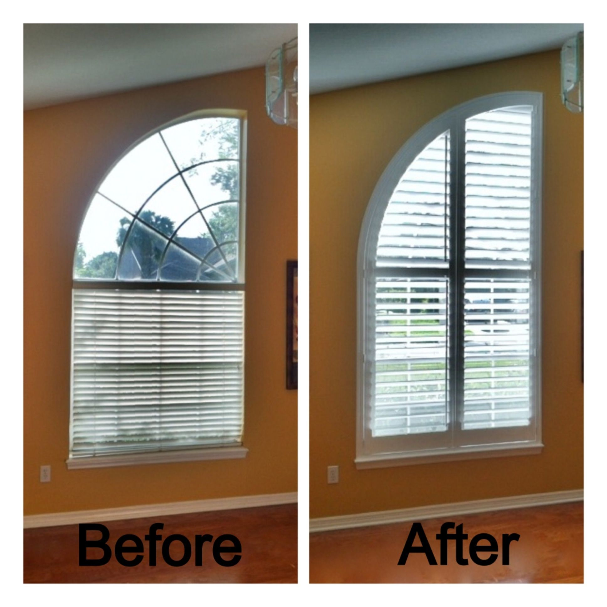 Arched window before with blinds and after with for Curved windows