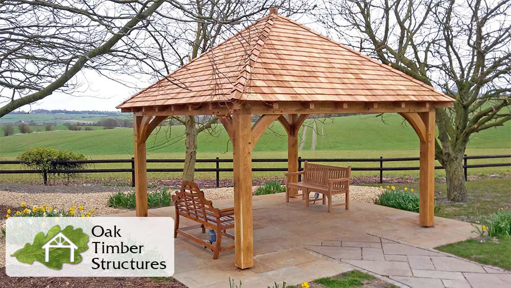 Solid Oak Garden Gazebo With A Cedar Shingle Roof 200mm X