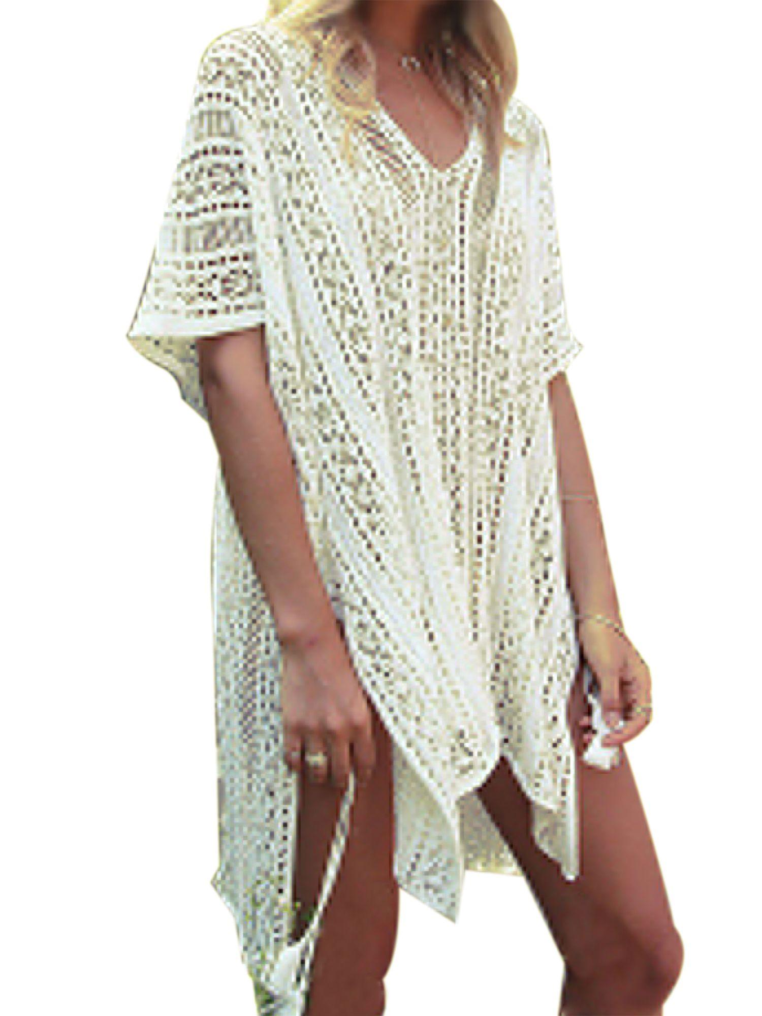 89a1a972a44ca Swim Cover ups Women Knit Lace Crochet Bikini Beachwear V-neck Hollow Out  Loose Beach Dress Tops Summer Bathing Suit Crochet