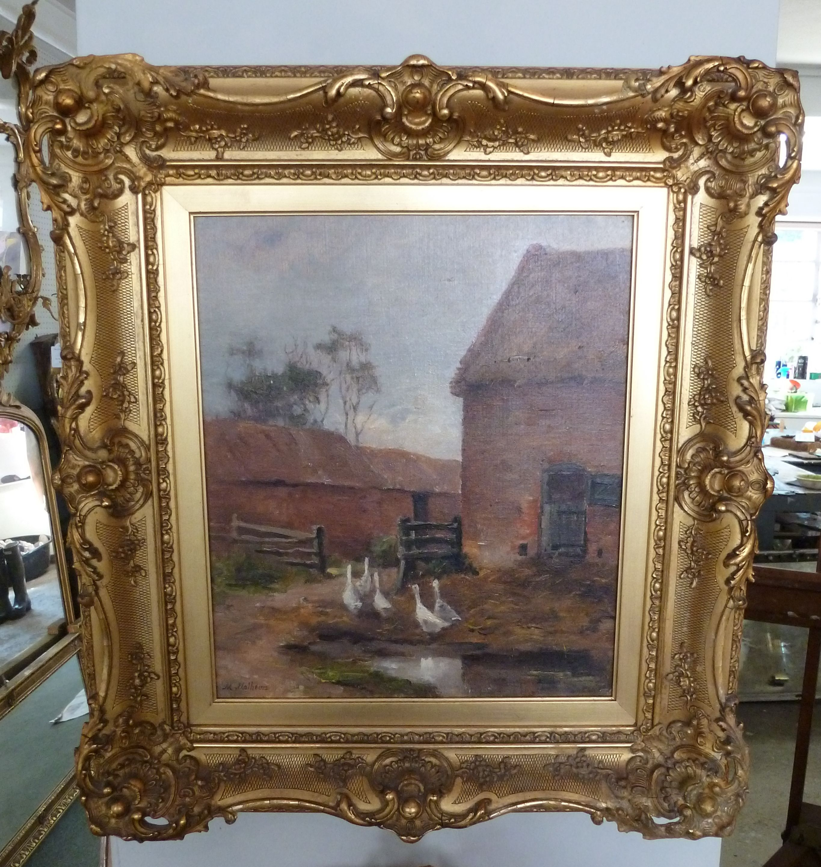Oil Painting of geese in a farm yard, in beautiful gilt frame. www ...
