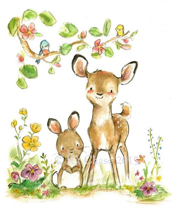 "Children's Art -- ""DEER FRIENDS"" -- Archival Print"