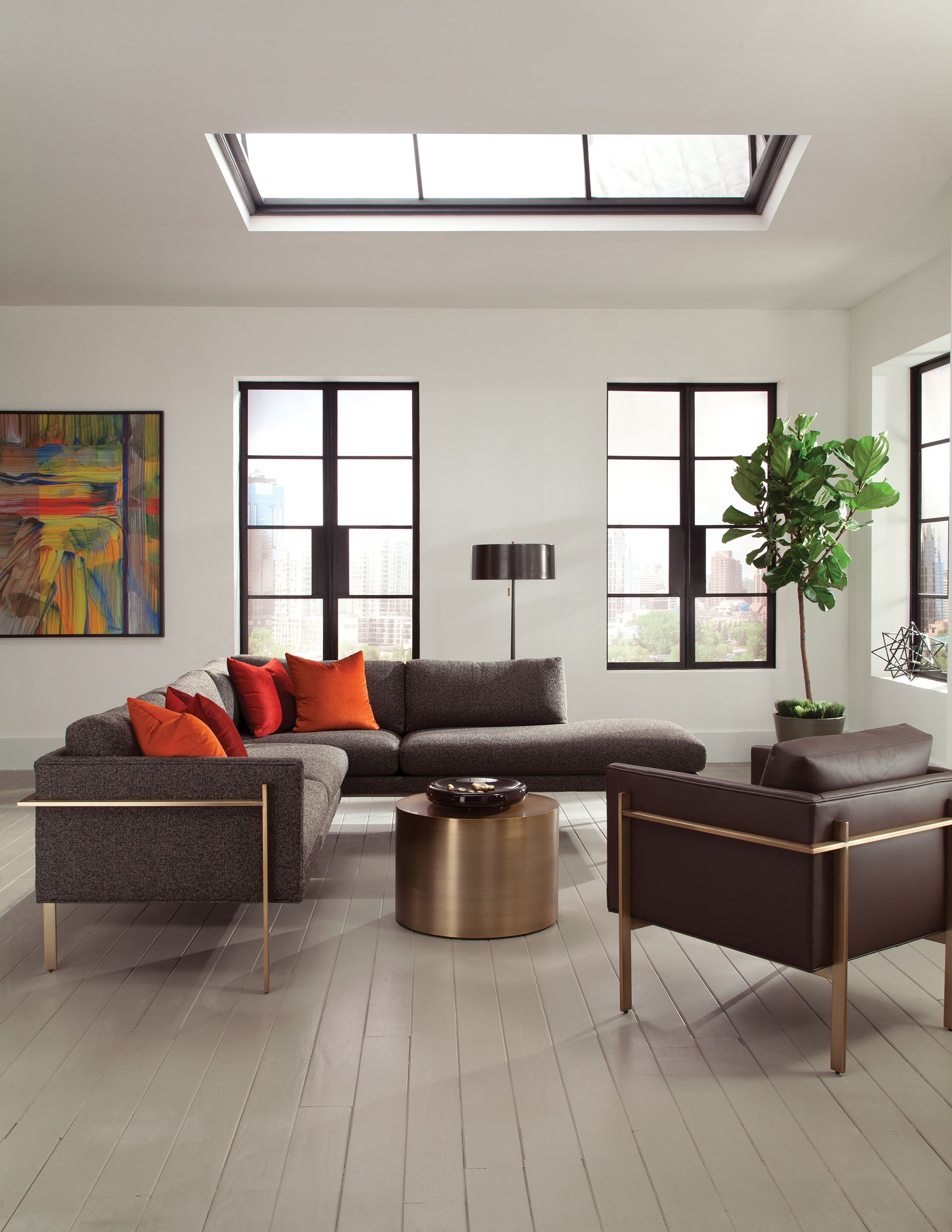 Modern Living Room with Milo Baughman Drop In Sectional and Lounge ...