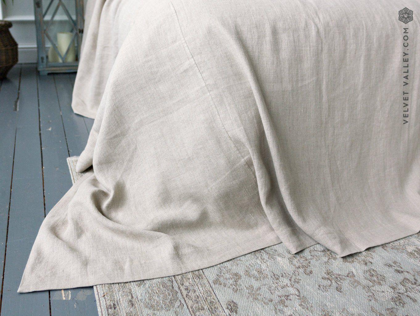Linen Bedspread Linen Quilt Softened Linen Bed Cover Queen King