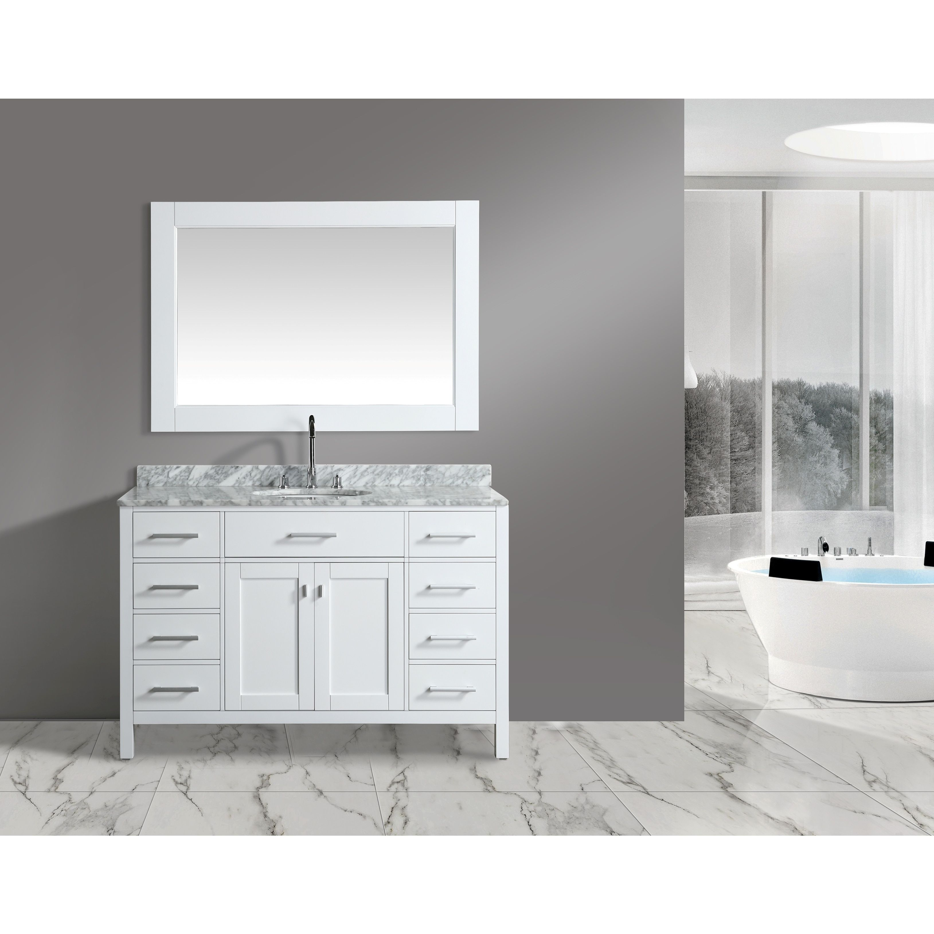 Design Element London White 54-inch Single-sink Vanity Set with ...