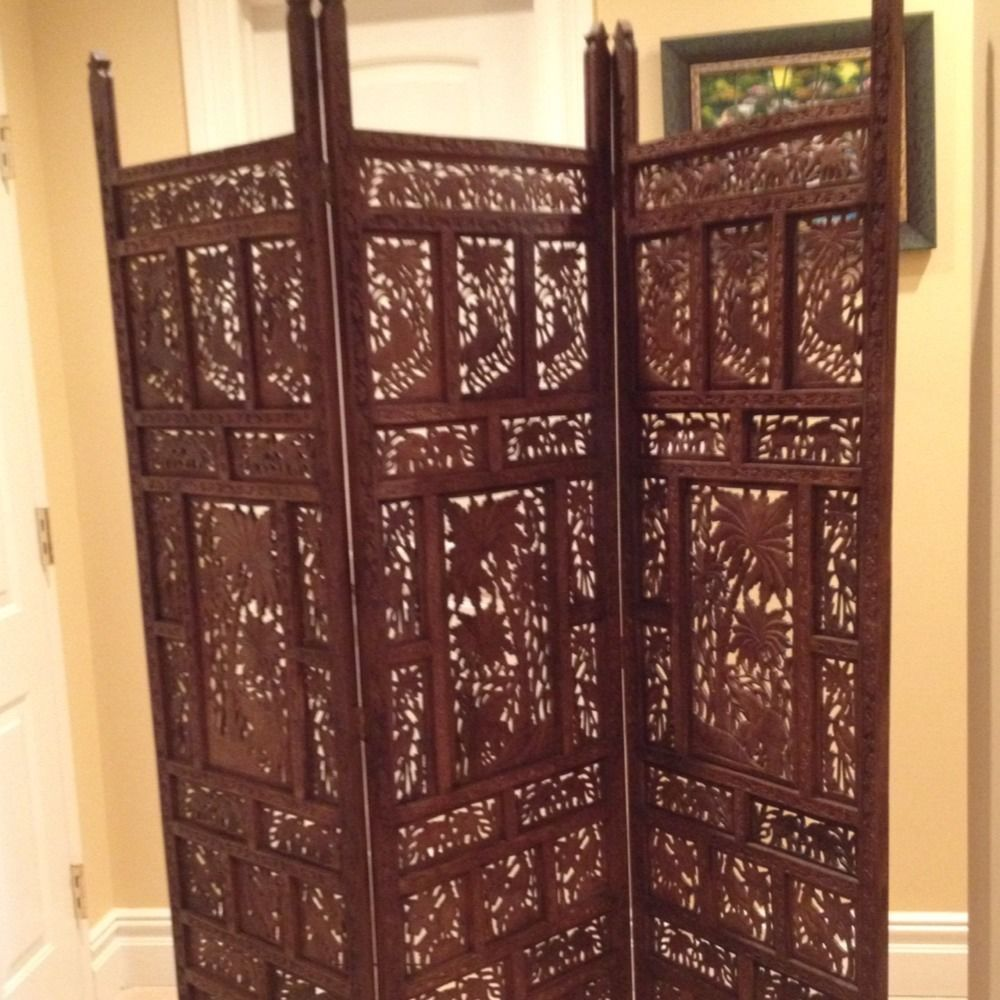 antique hand carved teak wood room divider screen | room divider