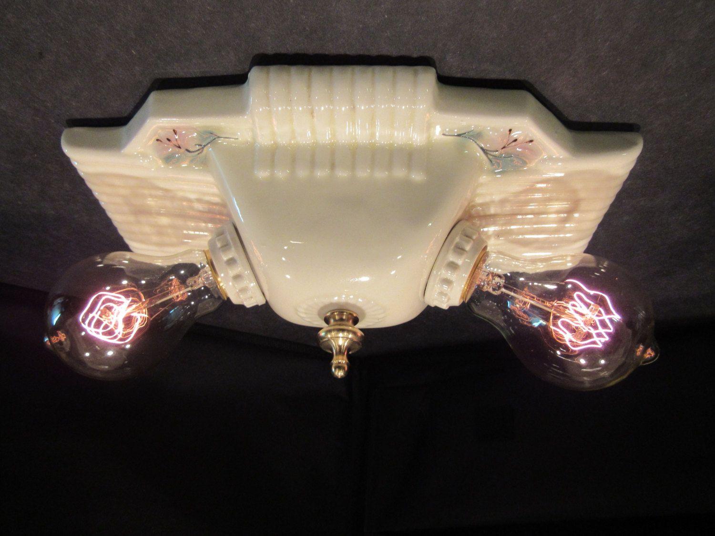 Vintage porcelain flush mount light fixture new sockets rewired vintage porcelain flush mount light fixture new sockets rewired bathroom light fixture arubaitofo Gallery