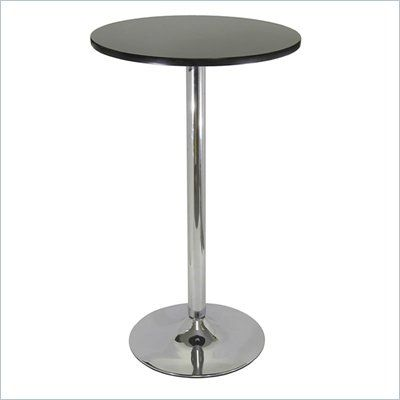 24 Round Bar Height Pub Table In Black And Chrome