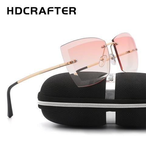 cc8caef2911a HDCRAFTER Oversized Women Sunglasses Square Rimless Diamond cutting Lens Brand  Designer Fashion Shades Sun Glasses With Box