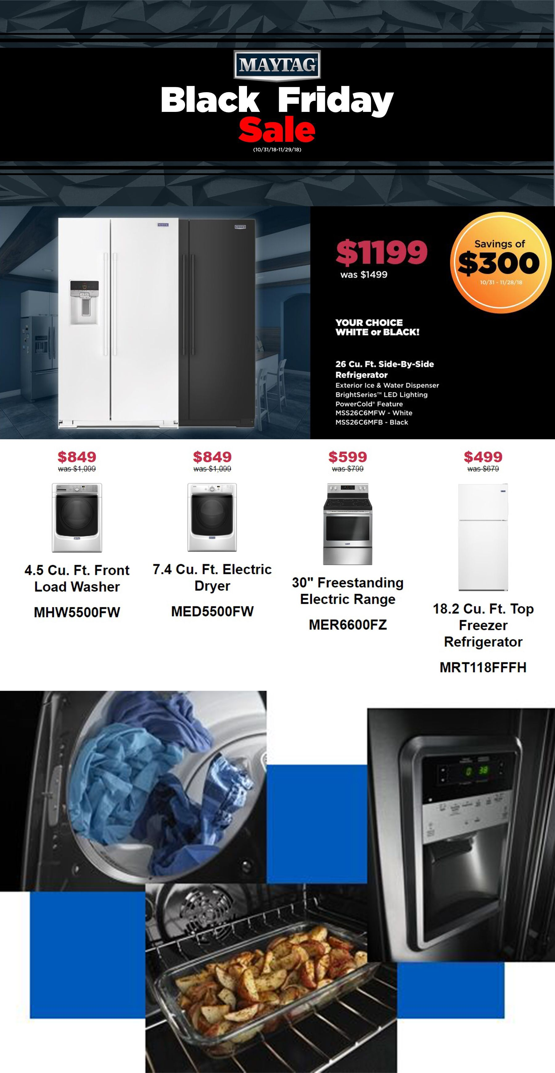 Maytag black friday sale washers dryers u kitchen ranges until