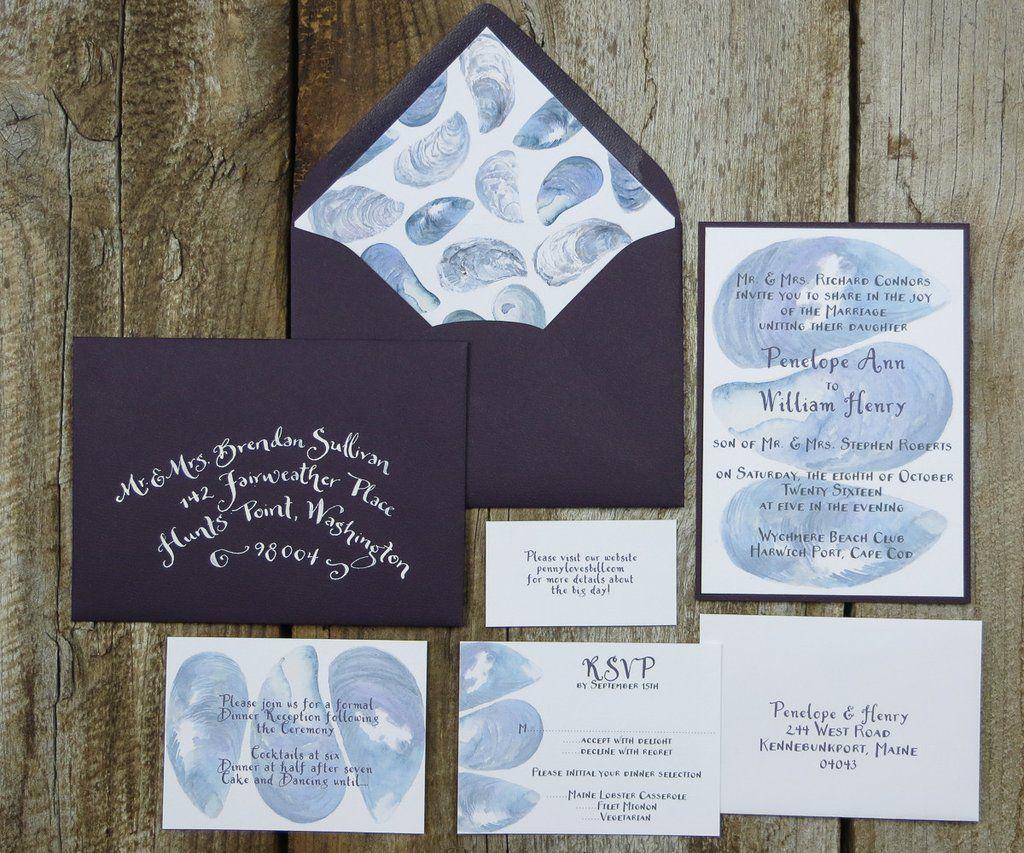 Mussel Shell Background Wedding Invitation Colorful Wedding