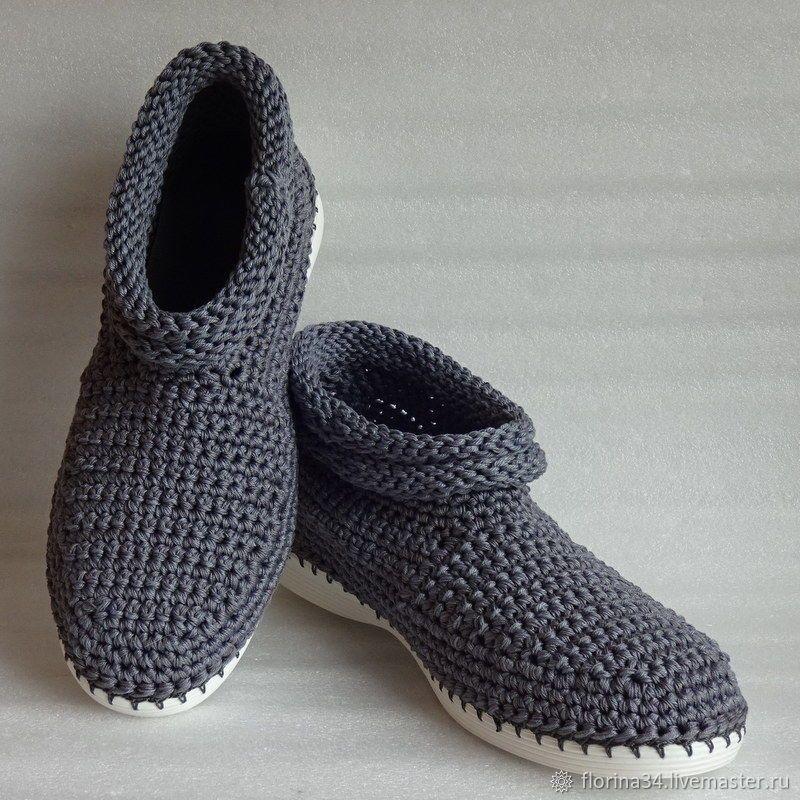 Ботинки вязаные мужские, серый хлопок – заказать на ...