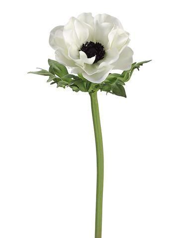 Anemone Silk Flower In Cream With Black Center 17 Tall X 3