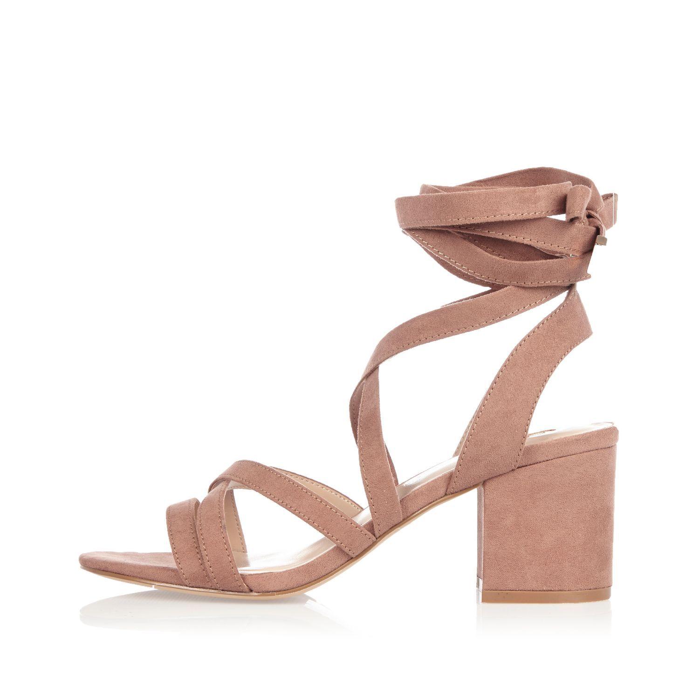 Pink soft tie heel sandals - heeled