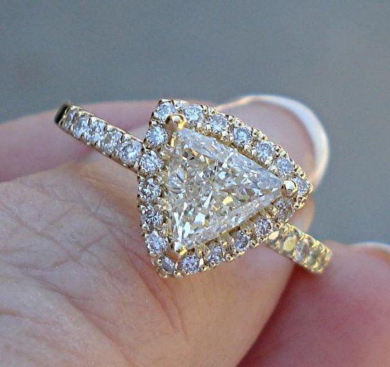 1 Carat Trillion Cut Halo Diamond Solitaire Ring - 14k ...