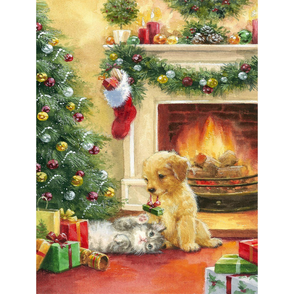 5d Diamond Painting Christmas Tree Fireplace Cat And Dog Paint With Diamonds Art Crystal Craft Decor In 2020 Christmas Tree Painting Christmas Paintings Christmas Artwork