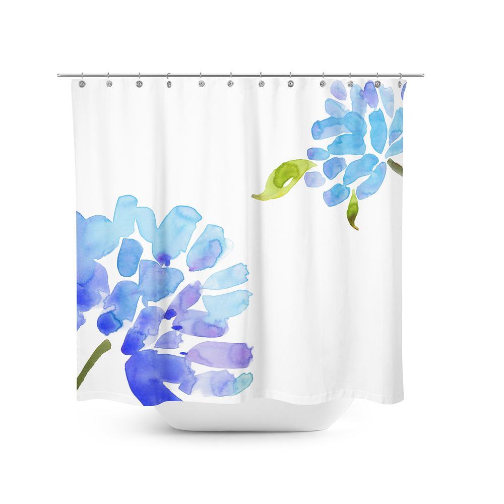Best Home Fashion Blue Flower 72 In Shower Curtain Shower Flower