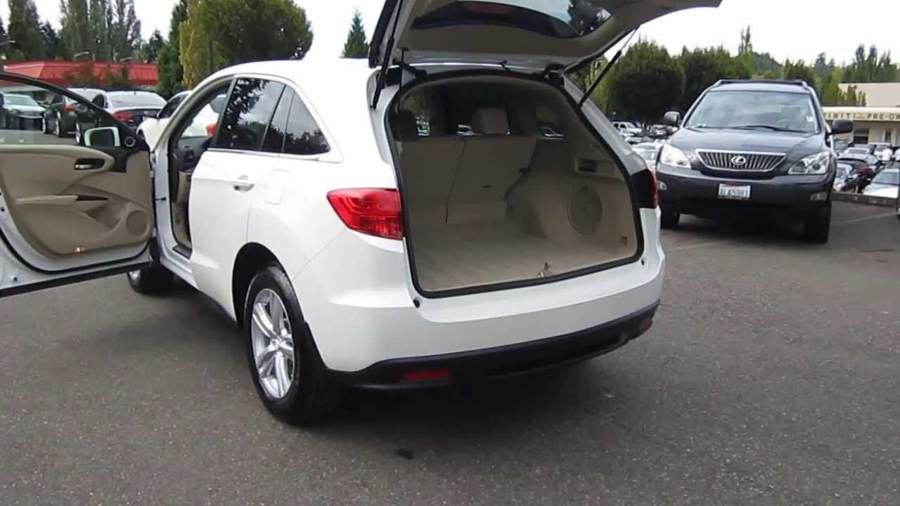 2013 White Acura RDX Open Trunk, Lots of Space! Acura