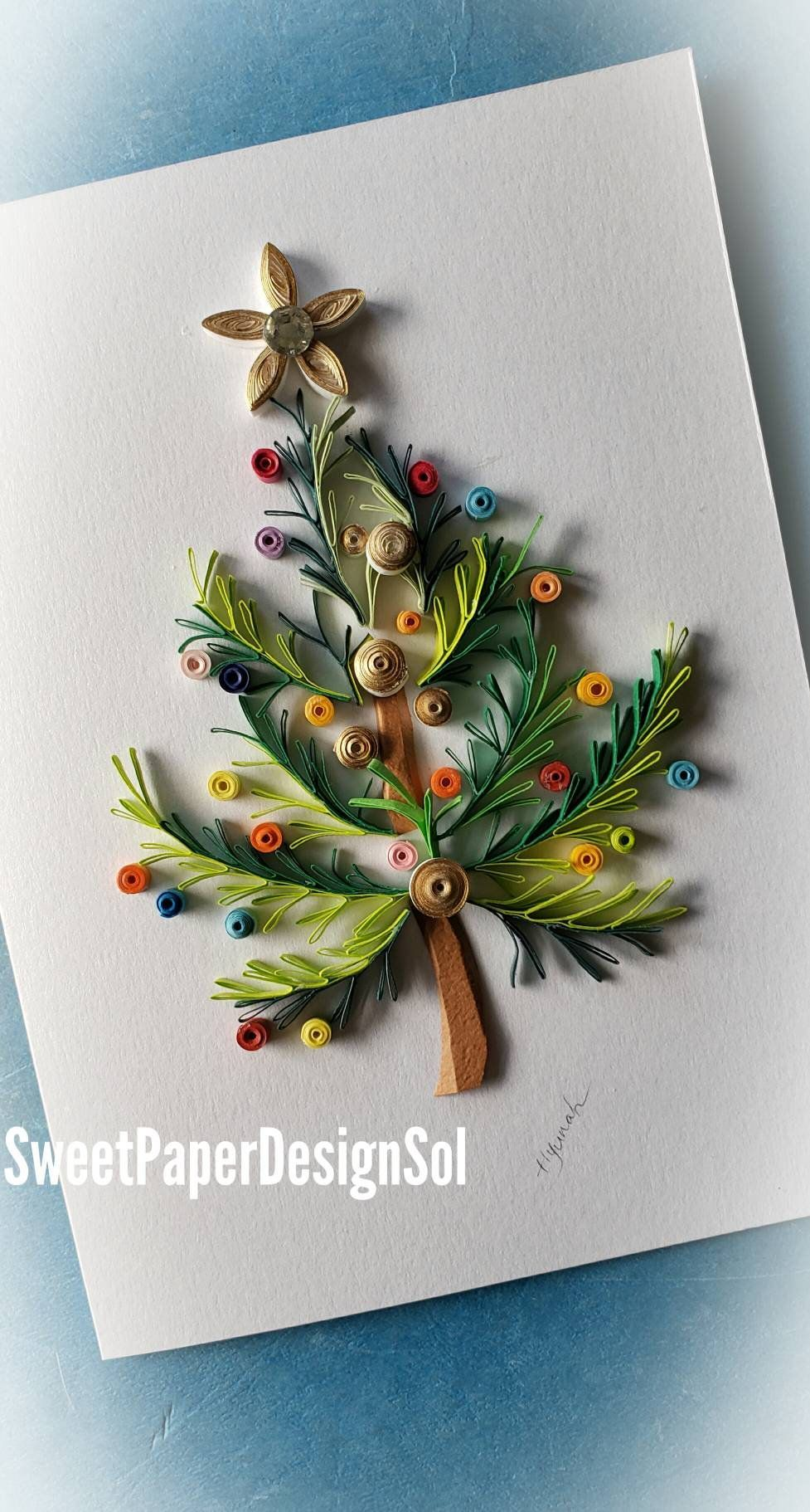 Paper Quilling Art Christmas Gift Christmas Handmade Card Christmas Tree Card Wall Art Home Deco Sunfl Quilling Christmas Paper Quilling Quilling Patterns