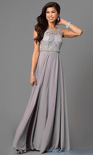 17ea931fe0 Shop jeweled-waist long formal plus-size dresses at Simply Dresses. Evening  dresses under $200 with lace bodices, v-backs and long chiffon skirts.