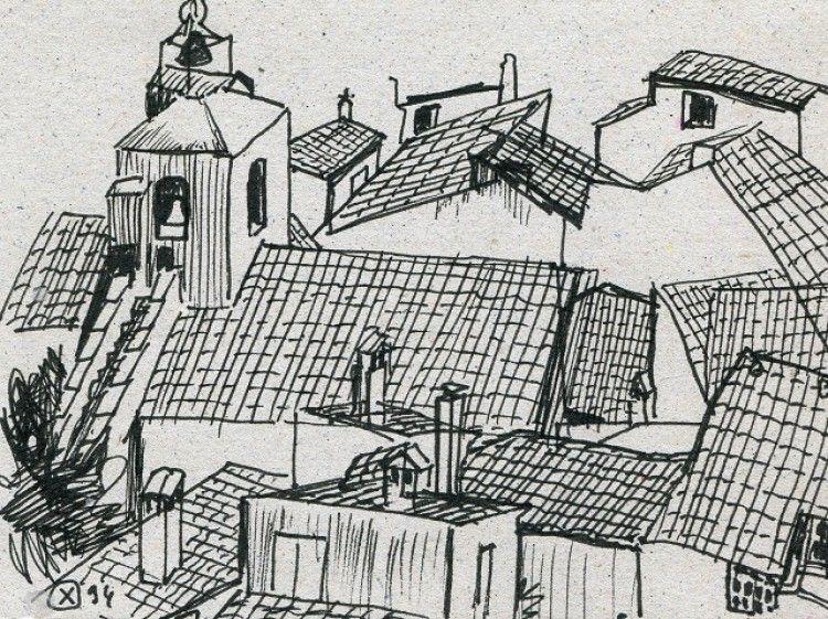 Les toits du Barroux depuis le bas du château (Denis Demouge)