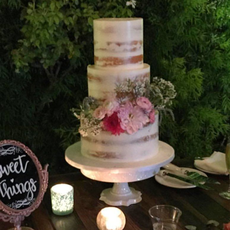 Semi Naked Wedding Cake With Fresh Flowers Franciscan Gardens In Orange County Ca By