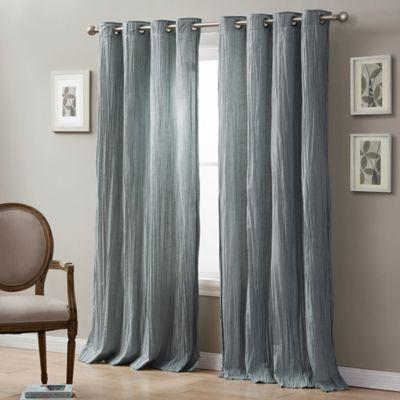 Linen Crinkle 108 Grommet Top Window Curtain Panel In Spa Blue Panel Curtains Window Curtains Curtains