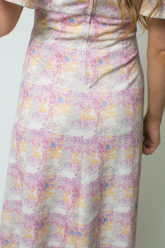 43340fd53 On sale PINK BOHO dress printed 70s dress short BUTTERFLY sleeves angel  sleeve maxi length 1970s hip