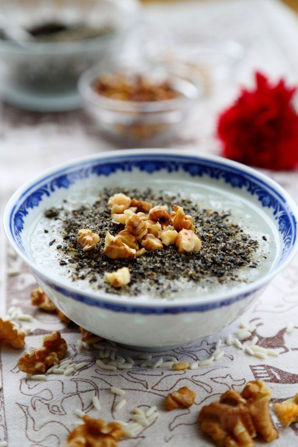 Glutinous Rice Congee with Walnuts and black Sesame, +recipe