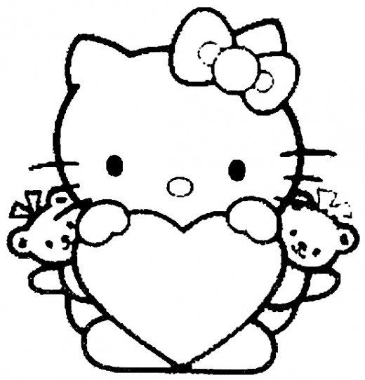 100 Pictures Of Hearts Hello Kitty Coloring Hello Kitty