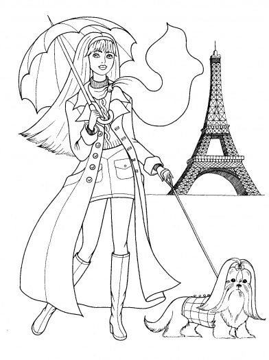 paris coloring woman in paris coloring page super coloring - Barbie Girl Pictures For Colouring