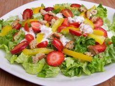 Strawberry Tomato Salad With Cottage Cheese Dressing Servings: 1 Calories: 189