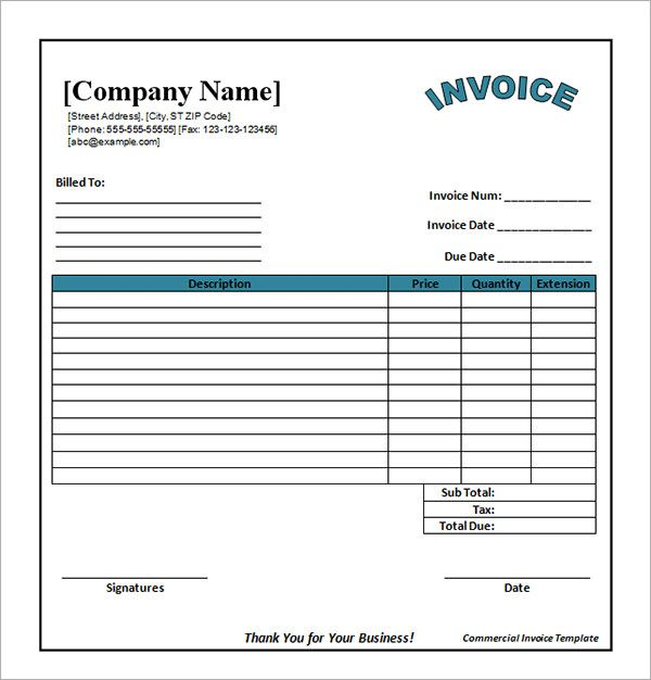 Pdf Invoice Templates Free Download  Free Word Invoice Template Download