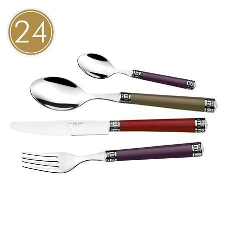 Only 1 left - Colisée 24 Piece Cutlery Set, Red