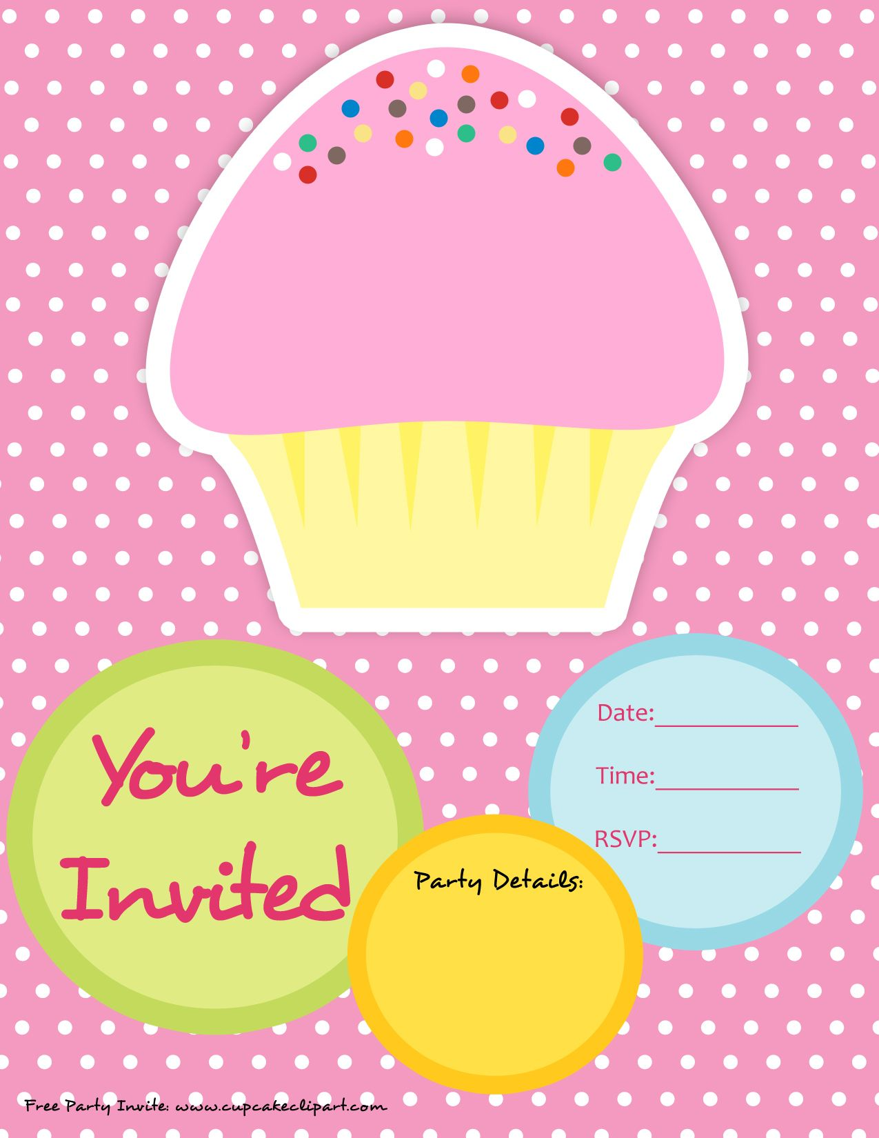 Invitations free published by cupcake lover on december 28 2011 this free one page invite features a cute pink and vanilla sprinkle cupcake that you can customize the invitation for your birthday party or event filmwisefo Gallery