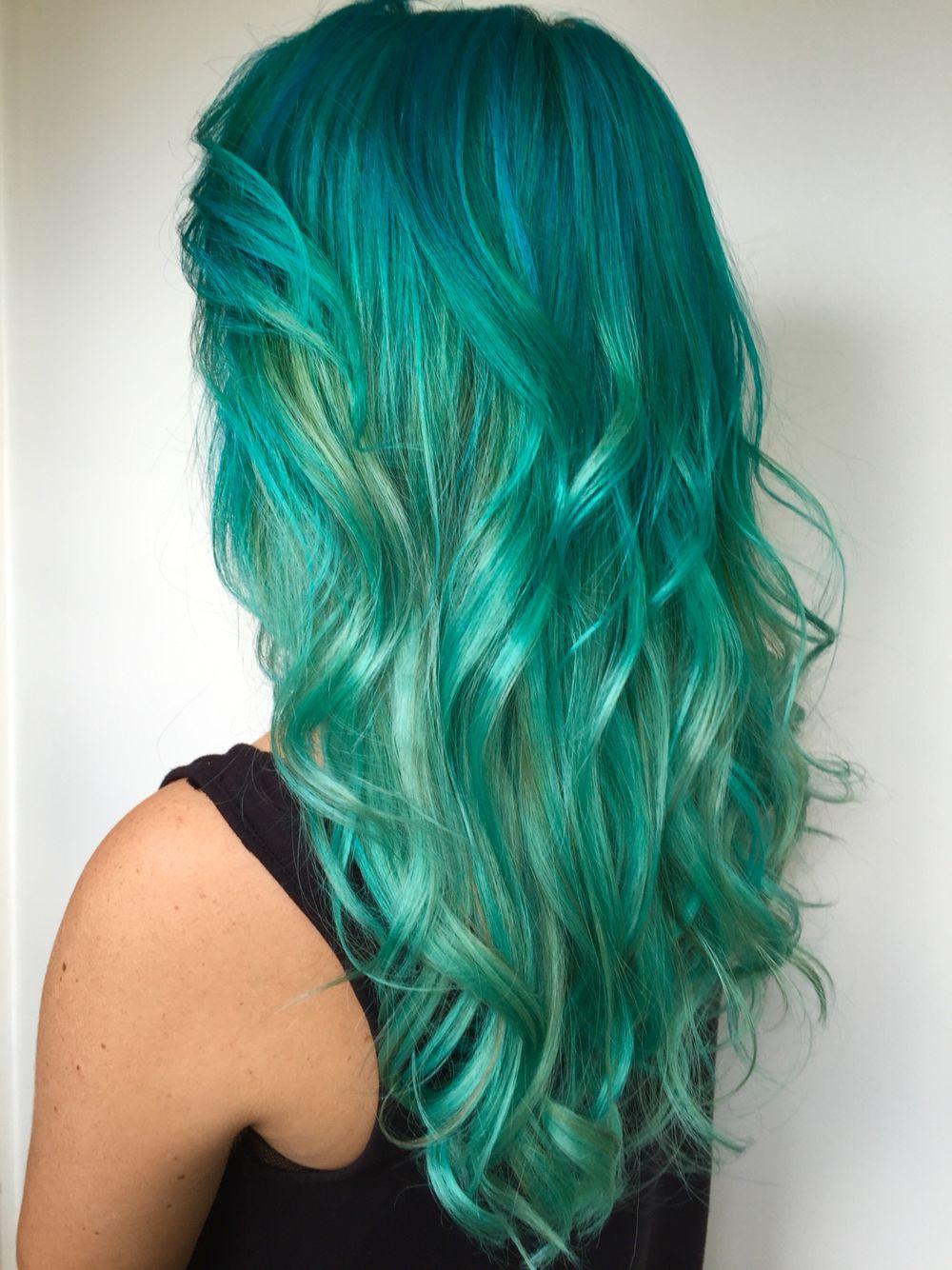 Longhair curls colour mermaid hair color u styles pinterest