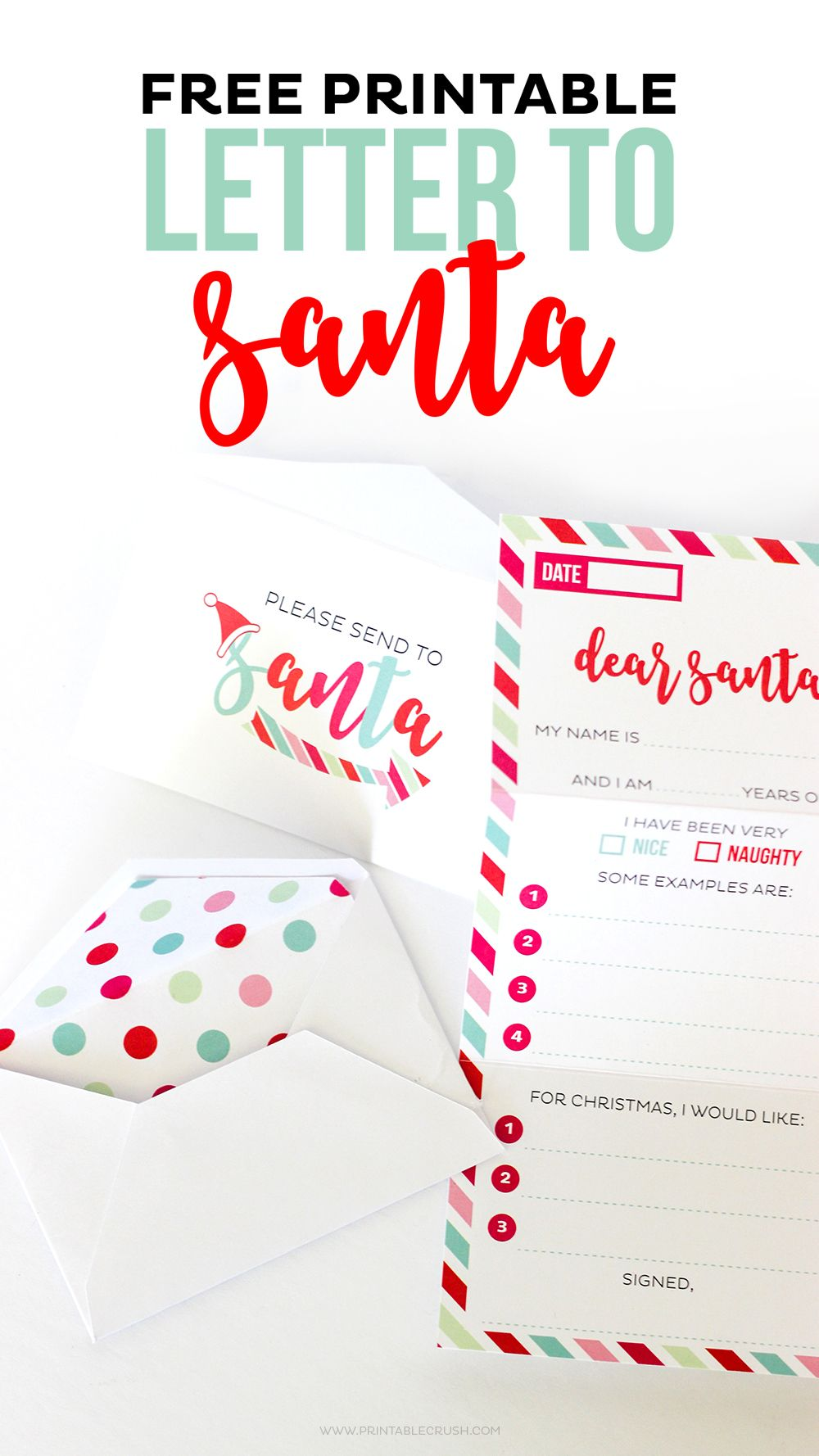 This Adorable Free Santa Letter Printable Set Includes A TriFold