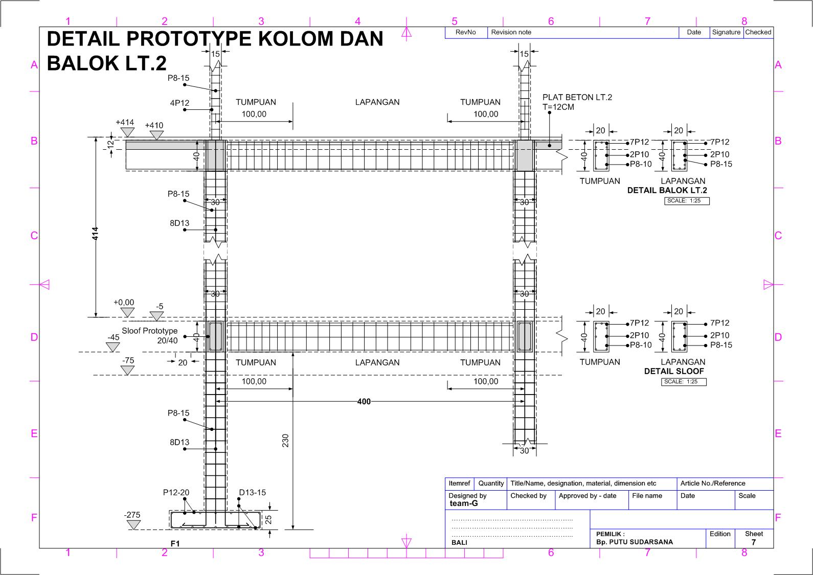 Gambar Kerja Pondasi 7 Detail Prototype Kolom Balok Lantai 2 Teknik Sipil Denah Lantai Rumah Denah Lantai
