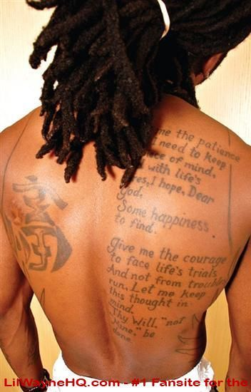 9fae9ebc6 The prayer on Lil Waynes back.. | Beautiful | Lil wayne, Verse ...