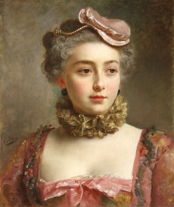 Gustave Jean Jacquet (1846 - 1909) - Portrait of a young Lady ...